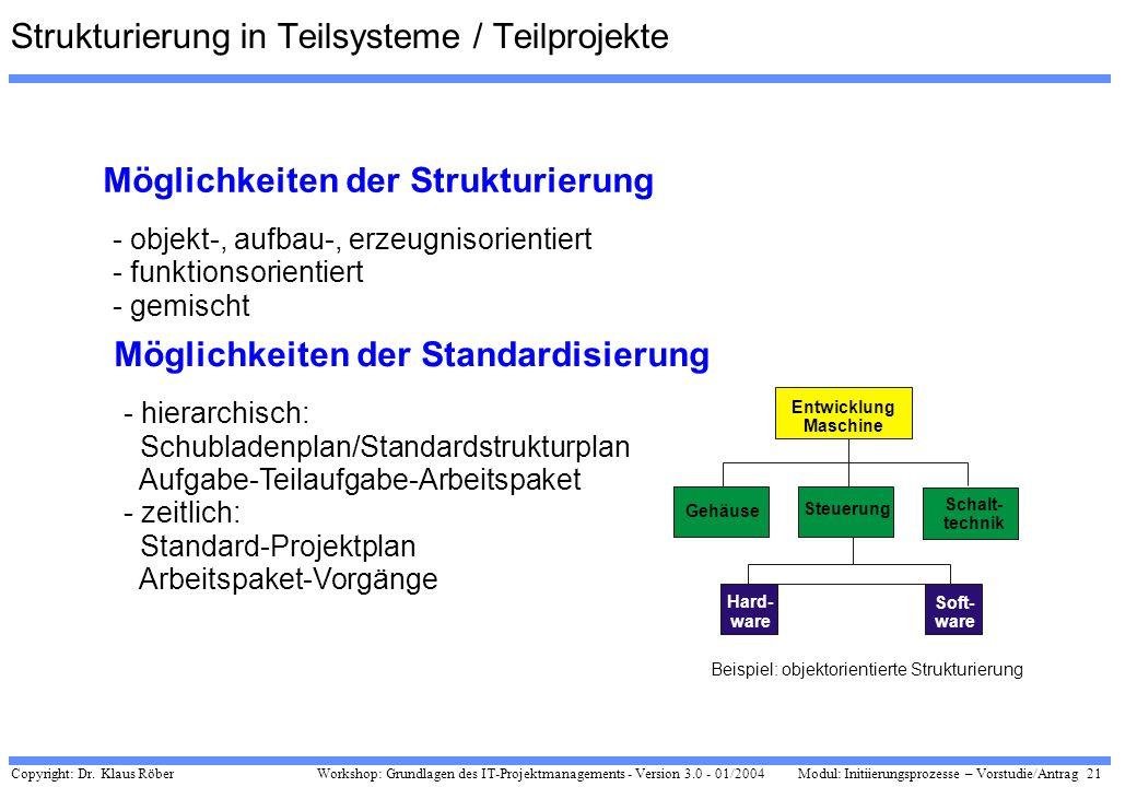 Strukturierung in Teilsysteme / Teilprojekte
