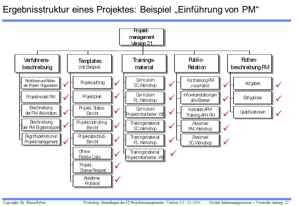 """Ergebnisstruktur eines Projektes: Beispiel """"Einführung von PM"""