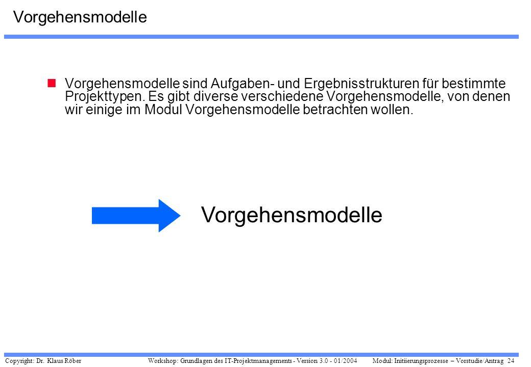 Vorgehensmodelle Vorgehensmodelle
