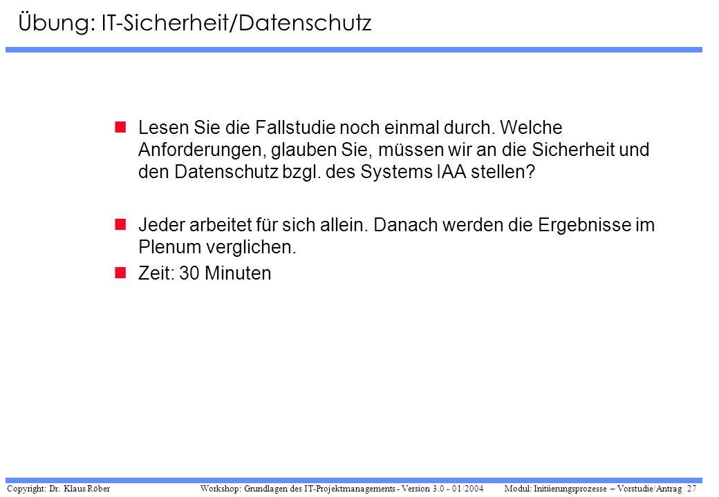Übung: IT-Sicherheit/Datenschutz