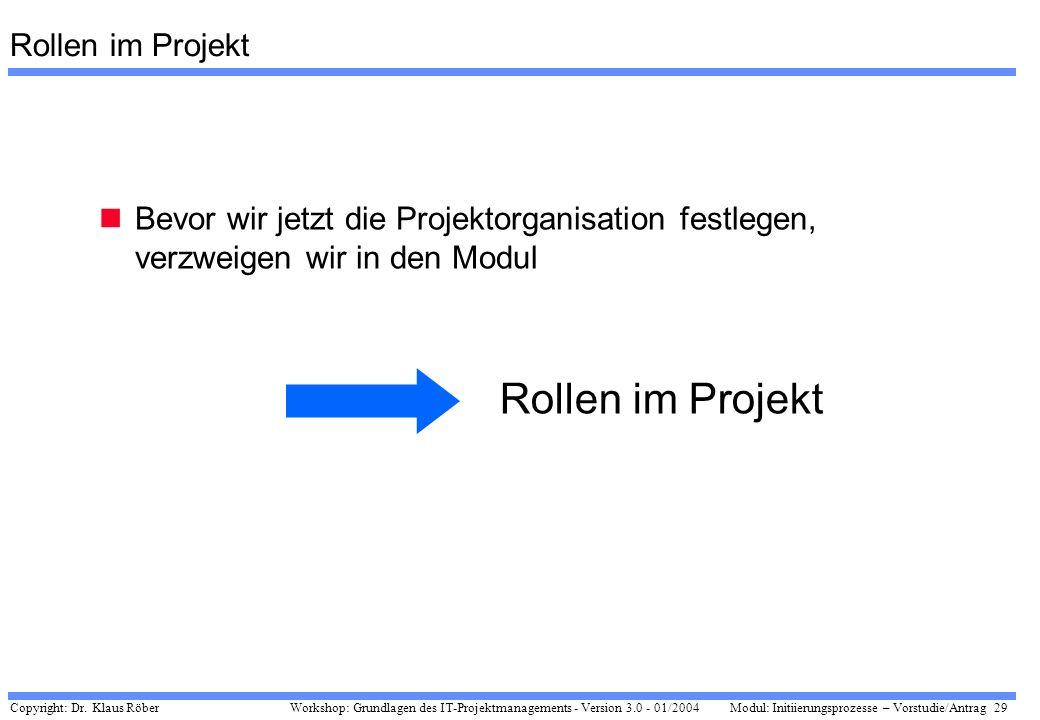 Rollen im Projekt Rollen im Projekt