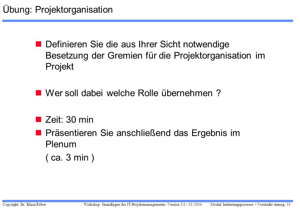 Übung: Projektorganisation