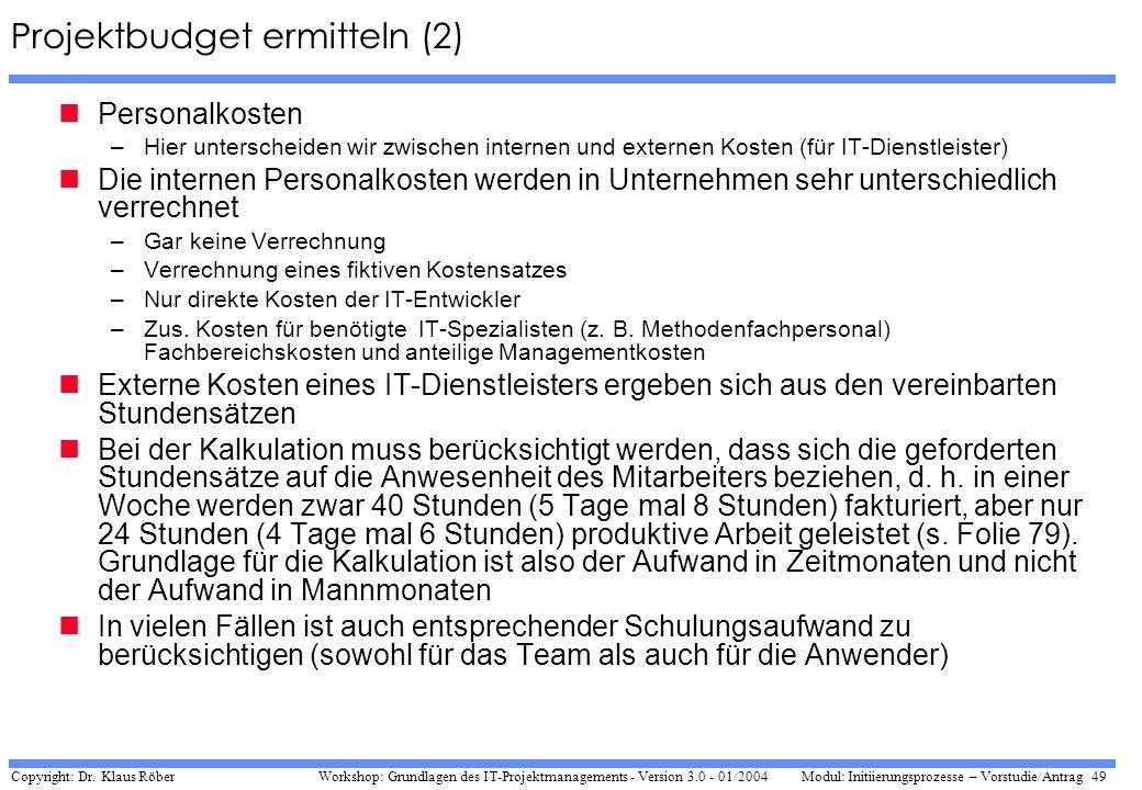 Projektbudget ermitteln (2)
