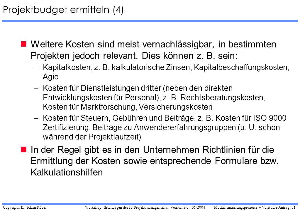 Projektbudget ermitteln (4)