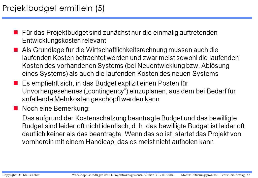 Projektbudget ermitteln (5)