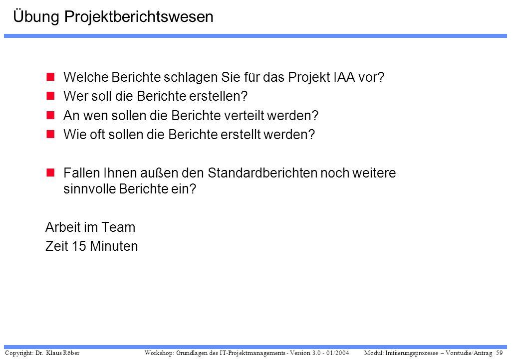 Übung Projektberichtswesen