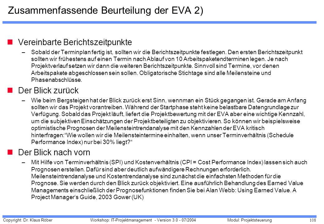 Zusammenfassende Beurteilung der EVA 2)