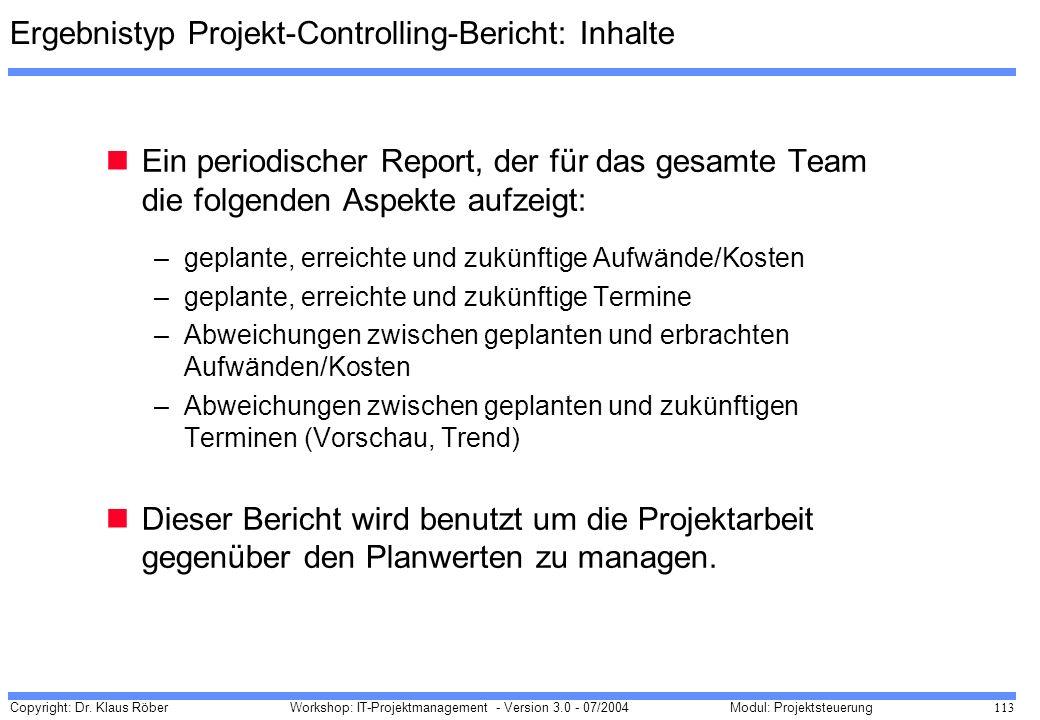 Ergebnistyp Projekt-Controlling-Bericht: Inhalte