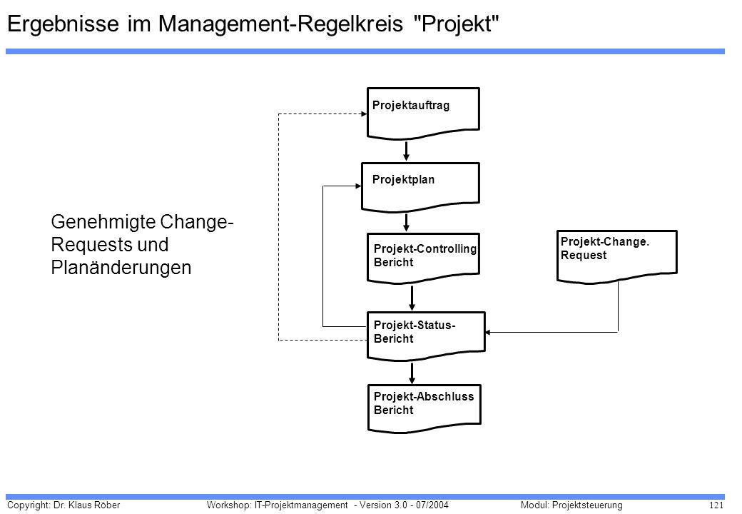 Ergebnisse im Management-Regelkreis Projekt