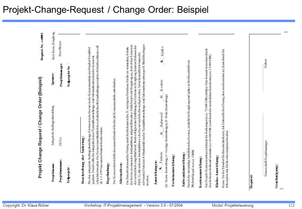 Projekt-Change-Request / Change Order: Beispiel