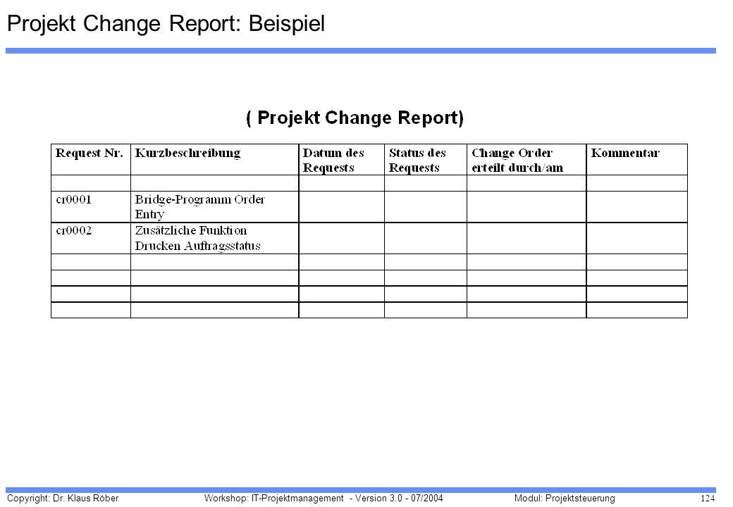Projekt Change Report: Beispiel