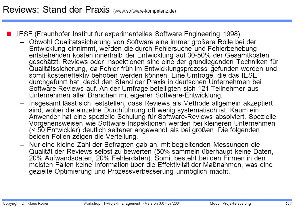 Reviews: Stand der Praxis (