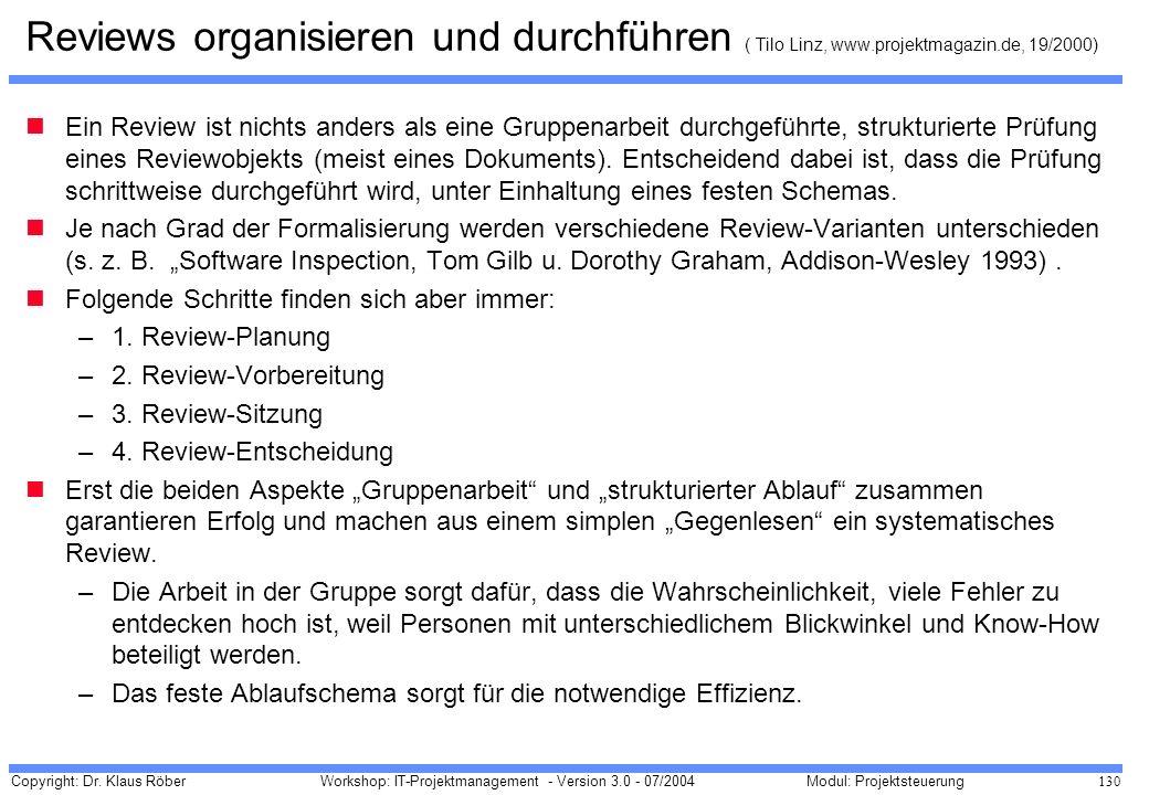 Reviews organisieren und durchführen ( Tilo Linz, www. projektmagazin