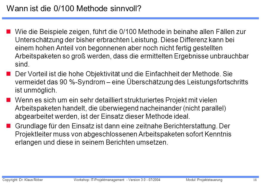 Wann ist die 0/100 Methode sinnvoll
