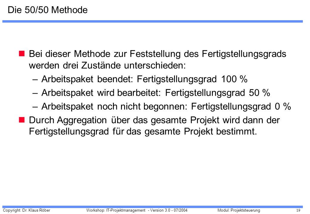 Die 50/50 Methode Bei dieser Methode zur Feststellung des Fertigstellungsgrads werden drei Zustände unterschieden: