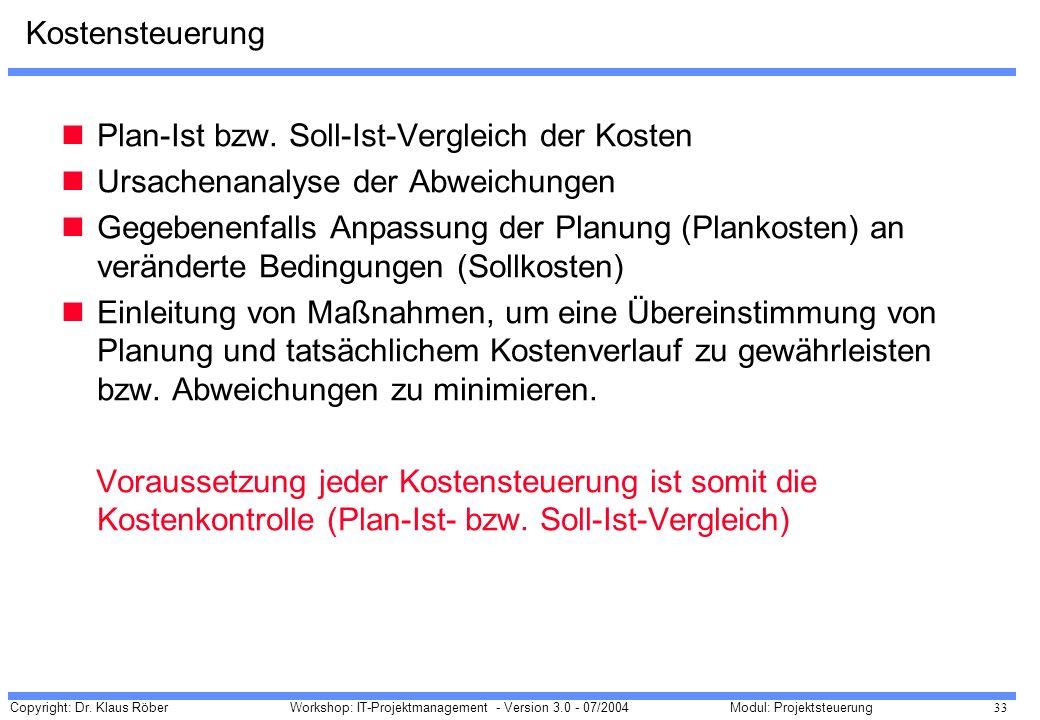Kostensteuerung Plan-Ist bzw. Soll-Ist-Vergleich der Kosten. Ursachenanalyse der Abweichungen.