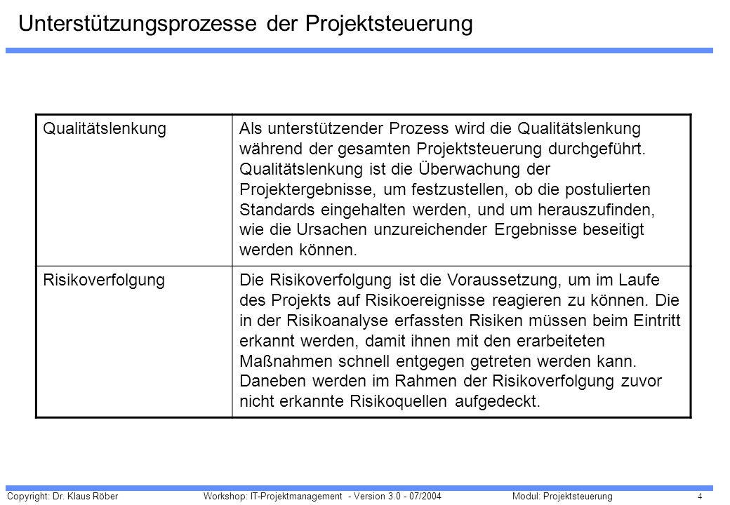 Unterstützungsprozesse der Projektsteuerung