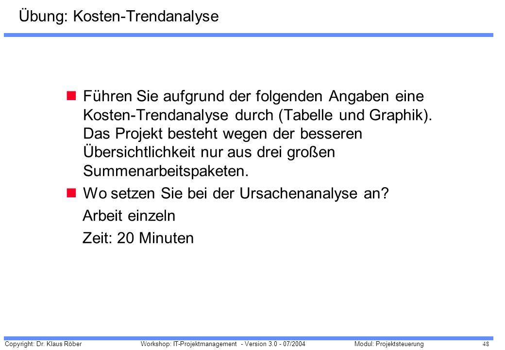 Übung: Kosten-Trendanalyse