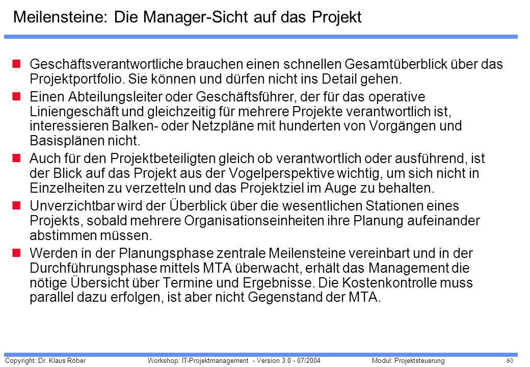 Meilensteine: Die Manager-Sicht auf das Projekt