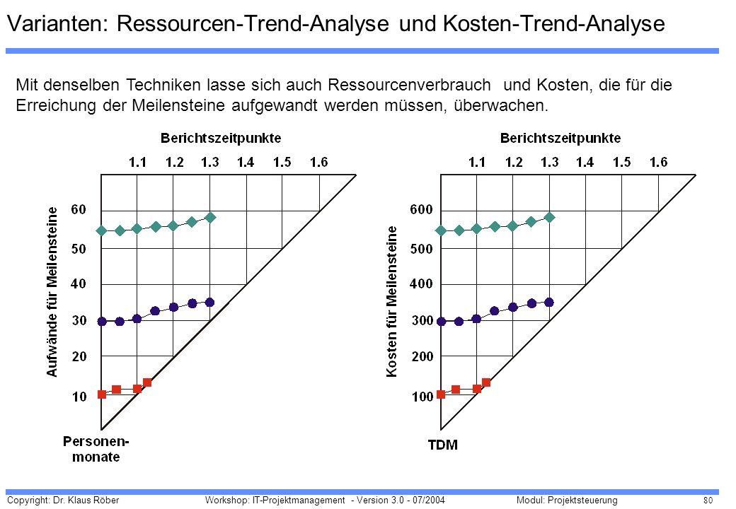 Varianten: Ressourcen-Trend-Analyse und Kosten-Trend-Analyse