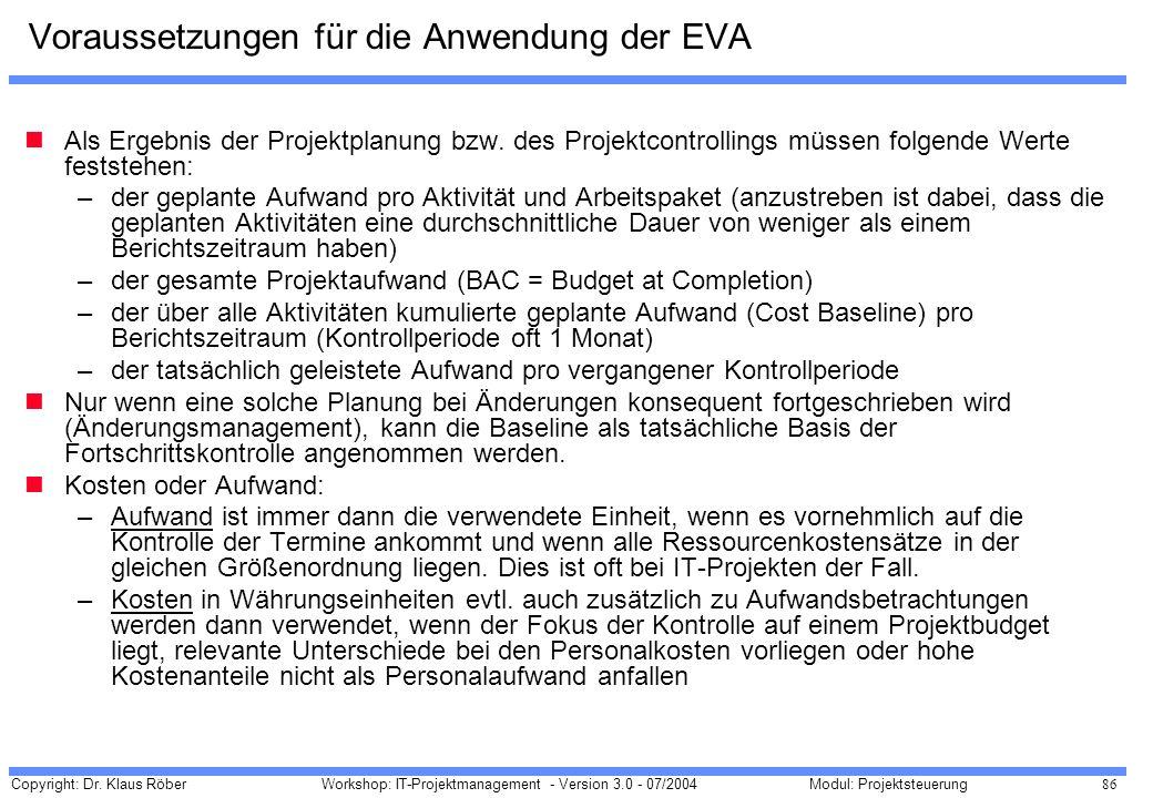 Voraussetzungen für die Anwendung der EVA