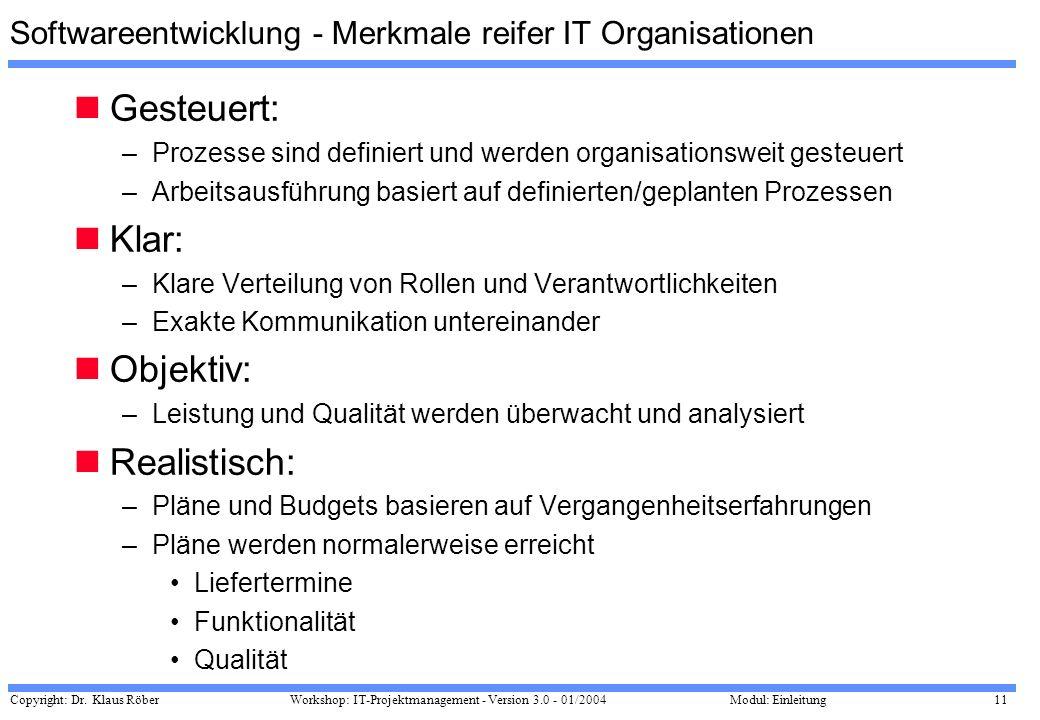 Softwareentwicklung - Merkmale reifer IT Organisationen