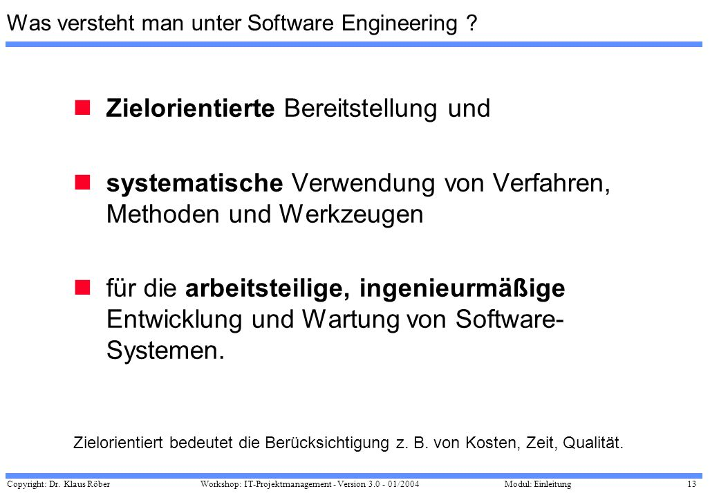 Was versteht man unter Software Engineering