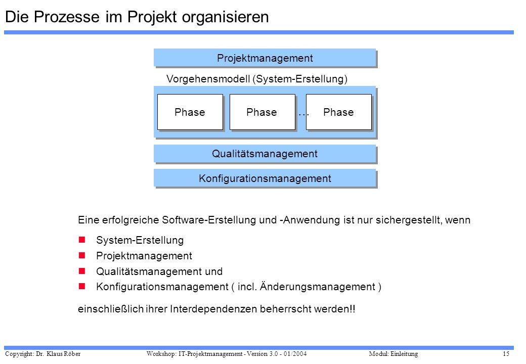 Die Prozesse im Projekt organisieren