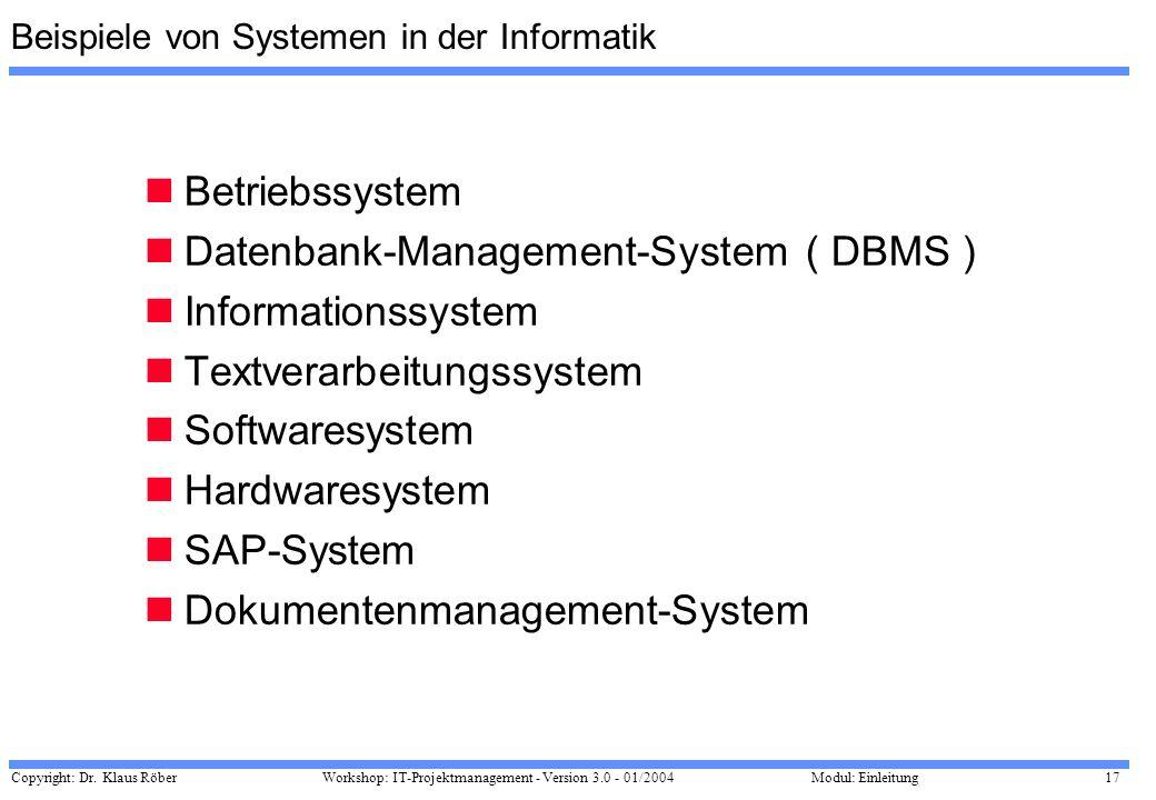 Beispiele von Systemen in der Informatik