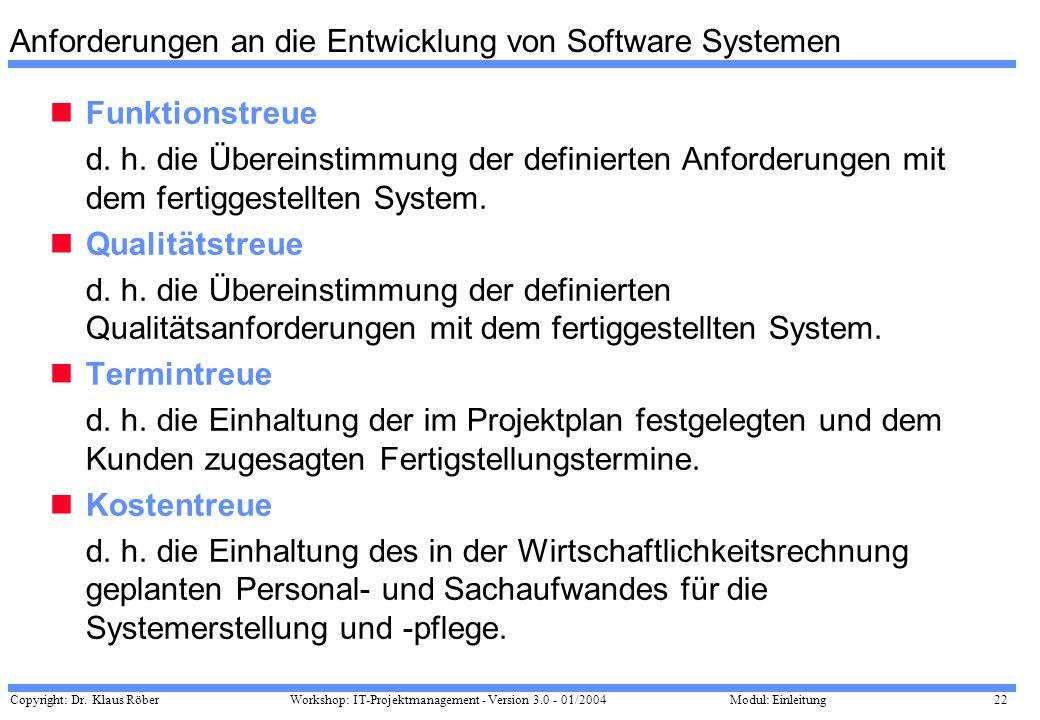 Anforderungen an die Entwicklung von Software Systemen