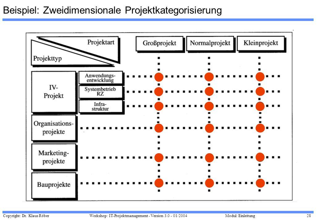 Beispiel: Zweidimensionale Projektkategorisierung