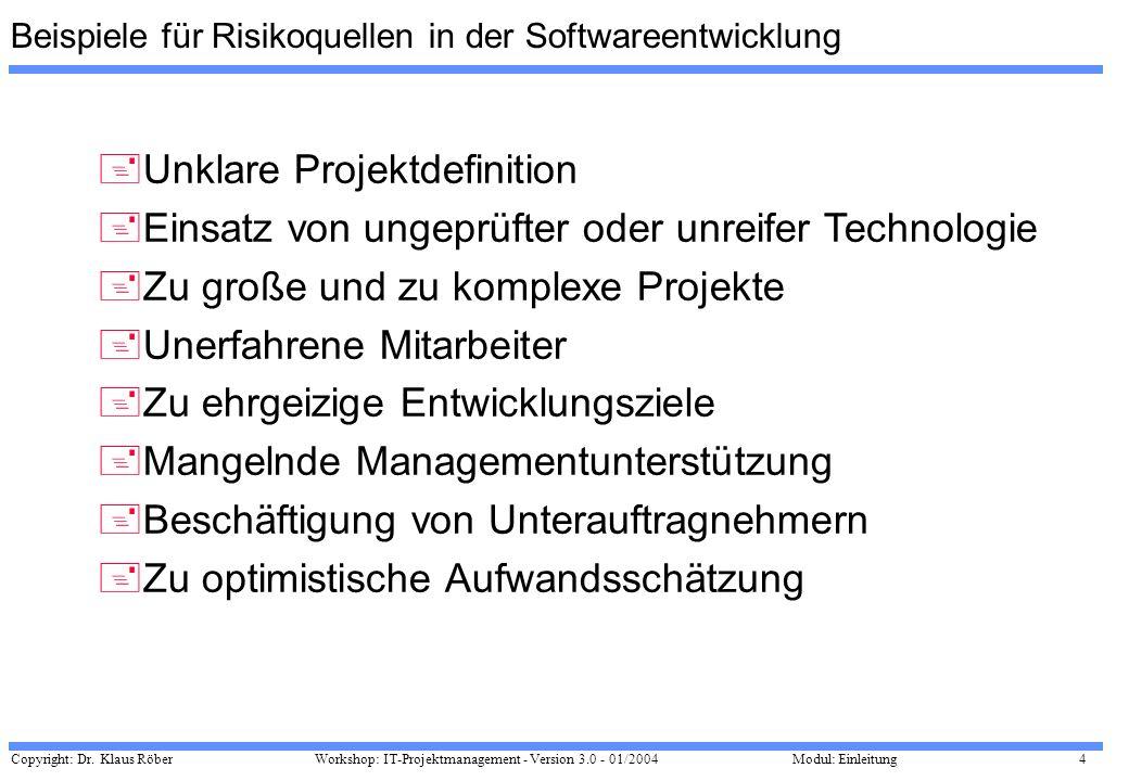 Beispiele für Risikoquellen in der Softwareentwicklung