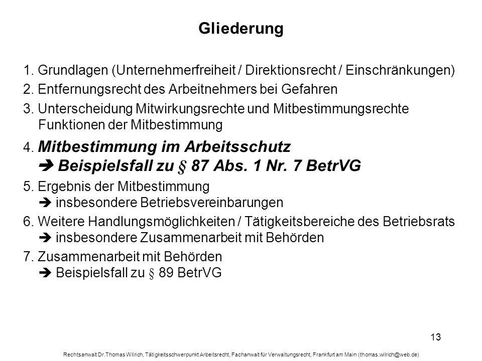 Gliederung 1. Grundlagen (Unternehmerfreiheit / Direktionsrecht / Einschränkungen) 2. Entfernungsrecht des Arbeitnehmers bei Gefahren.