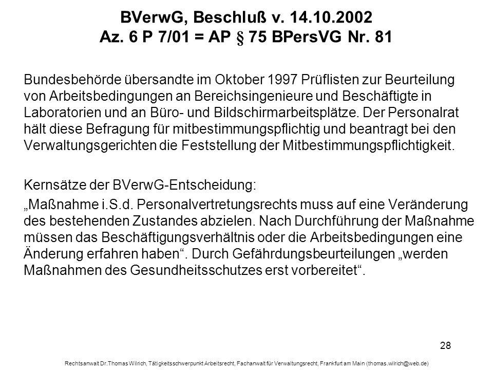 BVerwG, Beschluß v. 14.10.2002 Az. 6 P 7/01 = AP § 75 BPersVG Nr. 81