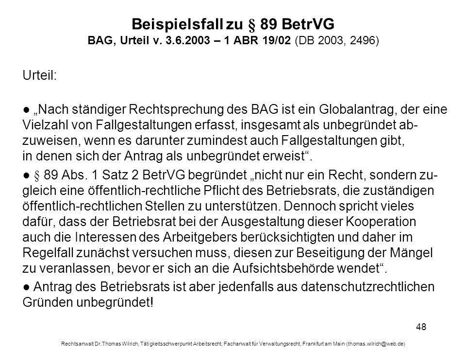 Beispielsfall zu § 89 BetrVG BAG, Urteil v. 3. 6