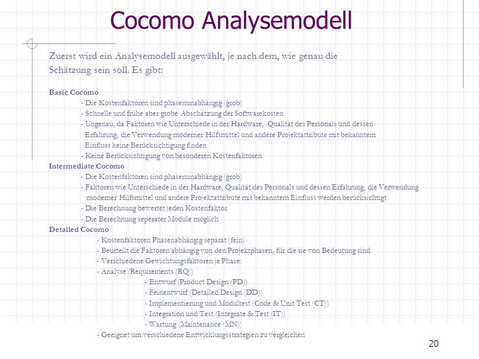 Cocomo Analysemodell Zuerst wird ein Analysemodell ausgewählt, je nach dem, wie genau die. Schätzung sein soll. Es gibt: