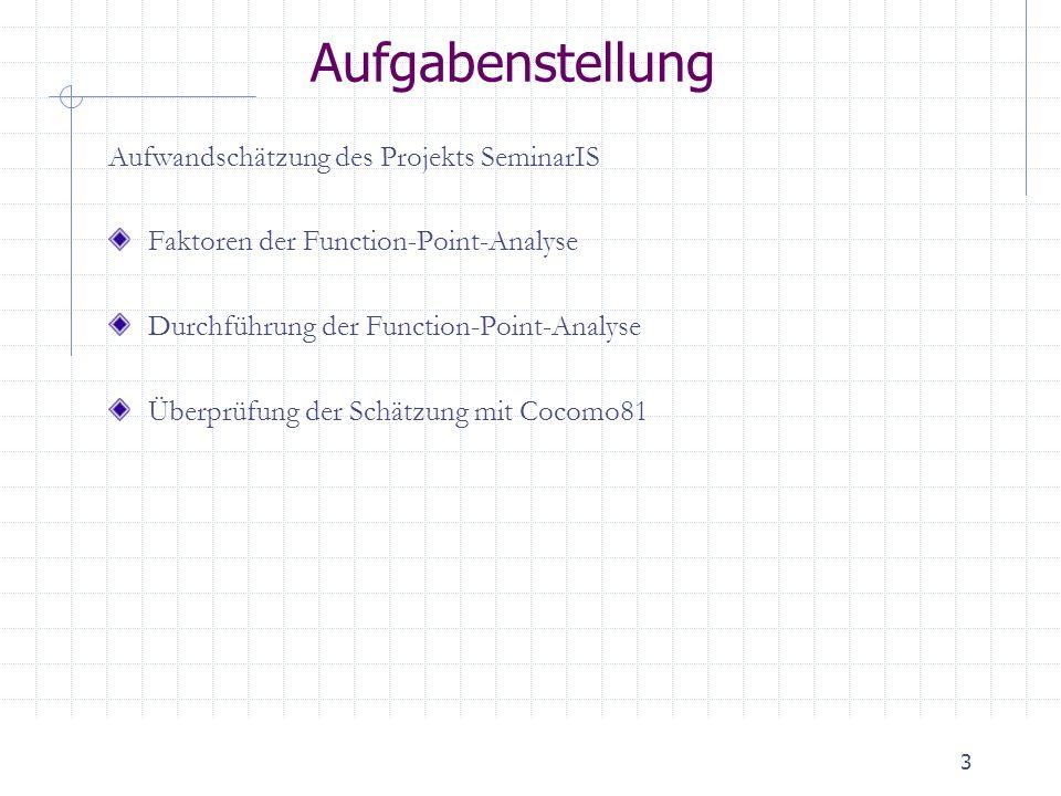 Aufgabenstellung Aufwandschätzung des Projekts SeminarIS