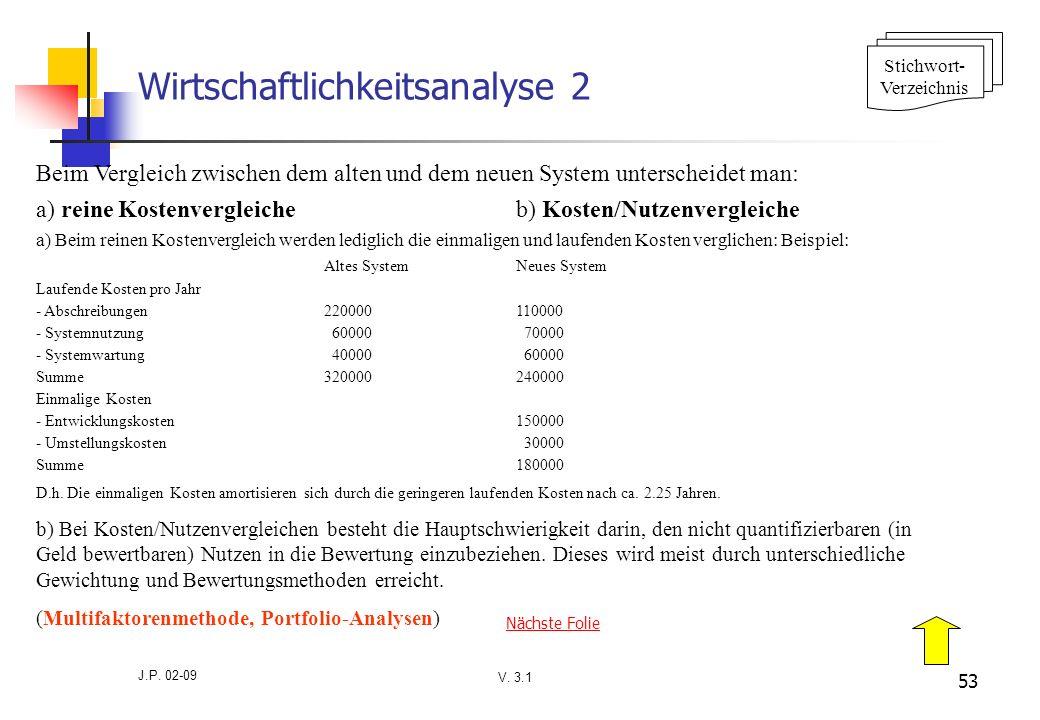 Wirtschaftlichkeitsanalyse 2