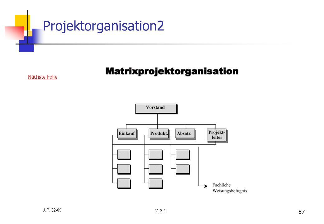Projektorganisation2 Nächste Folie J.P. 02-09