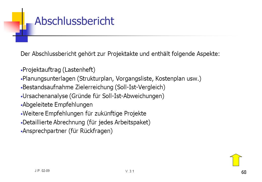 Abschlussbericht Der Abschlussbericht gehört zur Projektakte und enthält folgende Aspekte: Projektauftrag (Lastenheft)