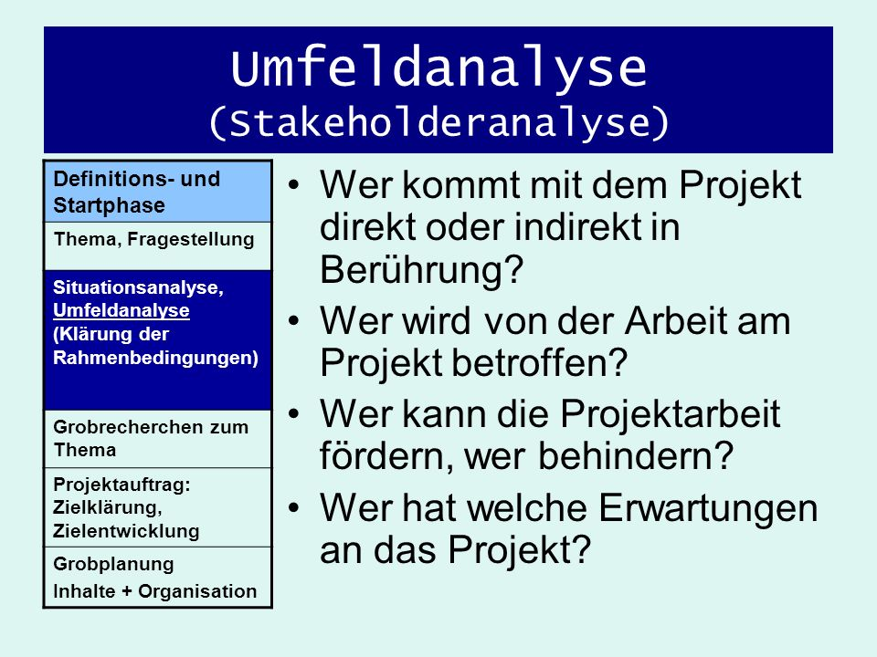 Umfeldanalyse (Stakeholderanalyse)