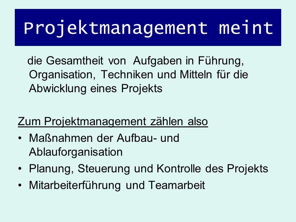 Projektmanagement meint