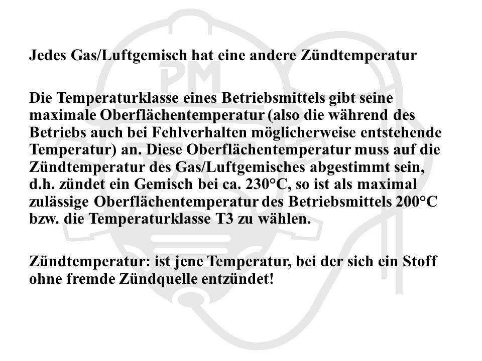 Jedes Gas/Luftgemisch hat eine andere Zündtemperatur
