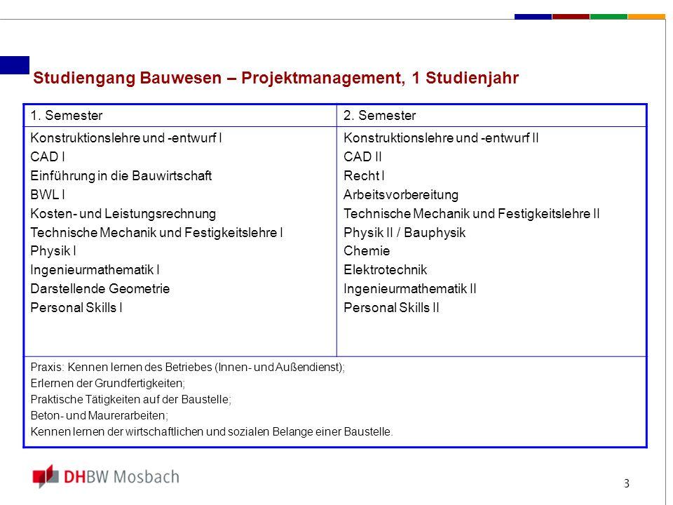 Studiengang Bauwesen – Projektmanagement, 1 Studienjahr