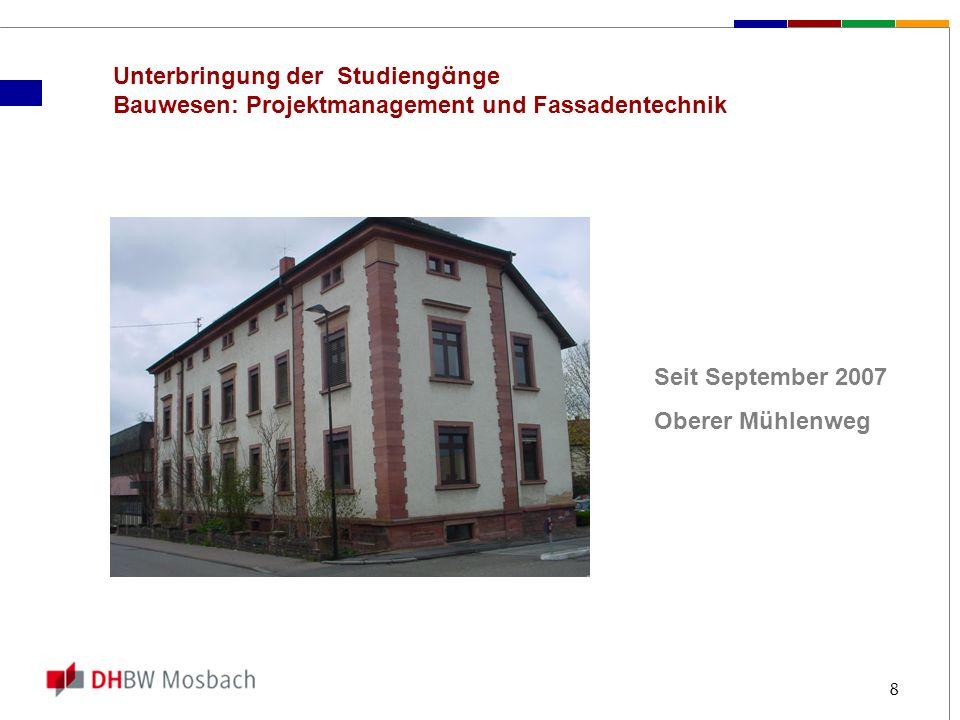 Unterbringung der Studiengänge Bauwesen: Projektmanagement und Fassadentechnik