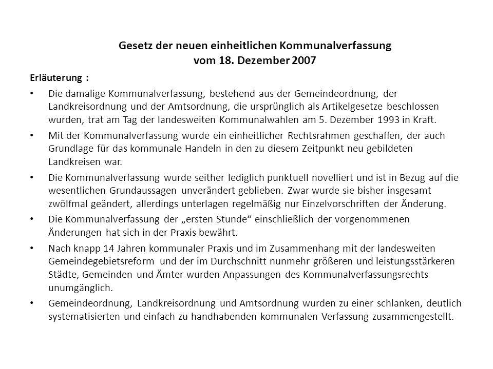 Gesetz der neuen einheitlichen Kommunalverfassung vom 18. Dezember 2007