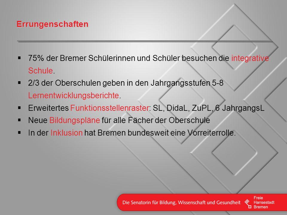 Errungenschaften 75% der Bremer Schülerinnen und Schüler besuchen die integrative Schule.