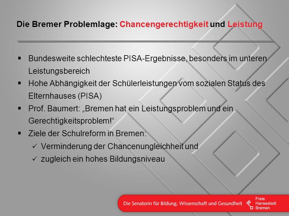 Die Bremer Problemlage: Chancengerechtigkeit und Leistung