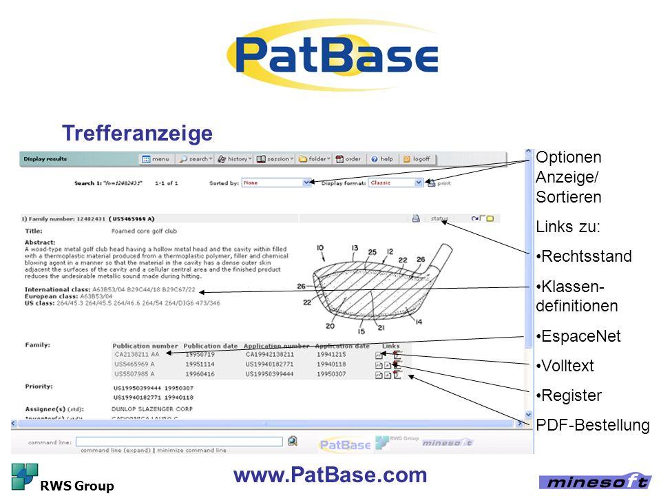 Trefferanzeige www.PatBase.com Optionen Anzeige/ Sortieren Links zu: