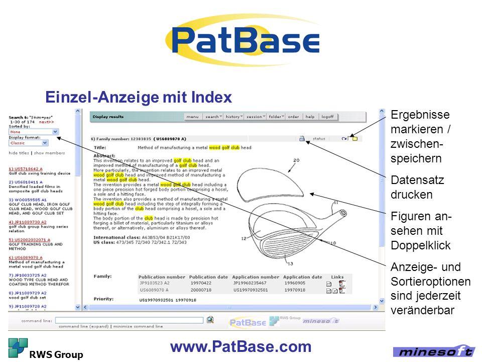 Einzel-Anzeige mit Index